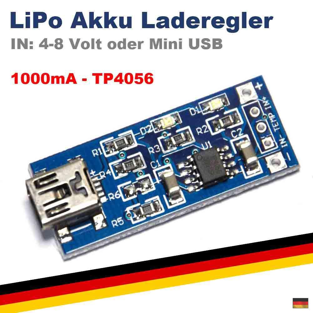 lipo tp4056 akku ladeger t mini usb lader 4 8 volt charger. Black Bedroom Furniture Sets. Home Design Ideas